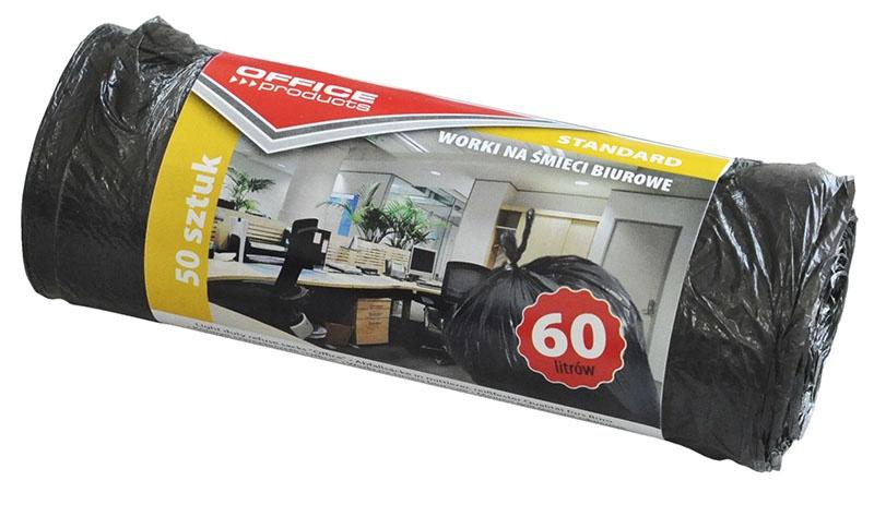 Worki na śmieci biurowe OFFICE PRODUCTS, standard (HDPE), 60l, 50szt., czarne, Worki, Artykuły higieniczne i dozowniki