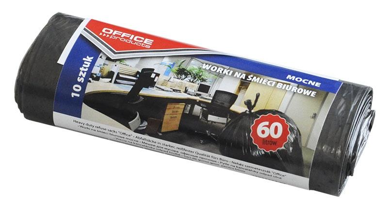 Worki na śmieci biurowe OFFICE PRODUCTS, mocne (LDPE), 60l, 10szt., czarne, Worki, Artykuły higieniczne i dozowniki