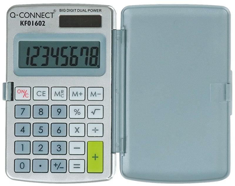 Kalkulator kieszonkowy Q-CONNECT, 8-cyfrowy, 60x101mm, etui, szary