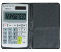 Calculator Q-CONNECT, 10-digit, 73x118mm, case, grey