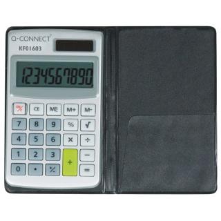 Kalkulator Q-CONNECT 10-cyfrowy, 73x118mm, etui, szary, Kalkulatory, Urządzenia i maszyny biurowe