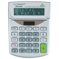Kalkulator biurkowy Q-CONNECT 10-cyfrowy, 102x140mm, szary, Kalkulatory, Urządzenia i maszyny biurowe