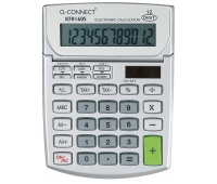 Calculator, Desktop, Q-CONNECT, 12-digit, 102x140mm, grey