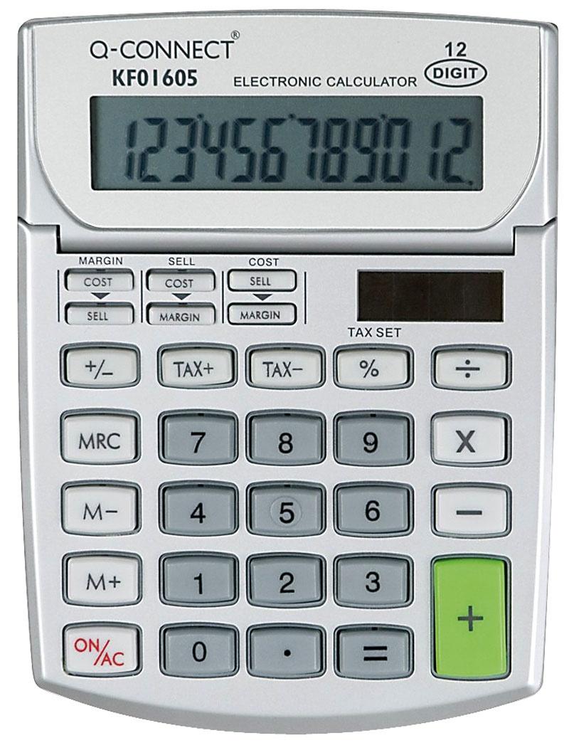 Kalkulator biurowy Q-CONNECT, 12-cyfrowy, 102x140mm, szary