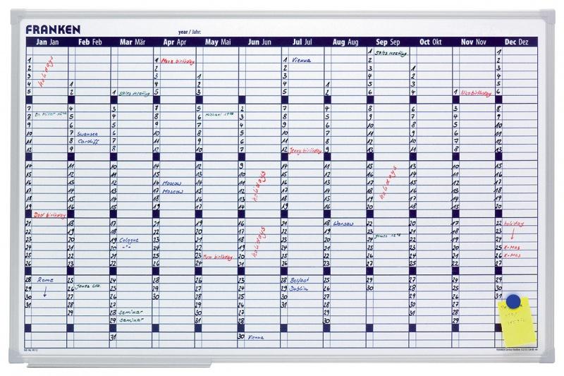 Year Wall Planner FRANKEN, dry-wipe/magnetic, 90x60cm