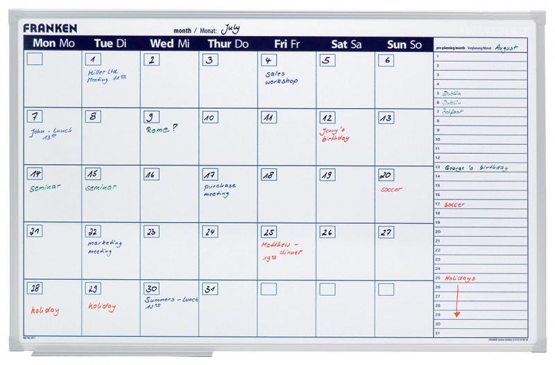 Monthly/Weekly Wall Planner FRANKEN, dry-wipe/magnetic, 90x60cm
