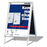 Free Standing Display Board FRANKEN, 64x100cm, double-sided, aluminium frame, white