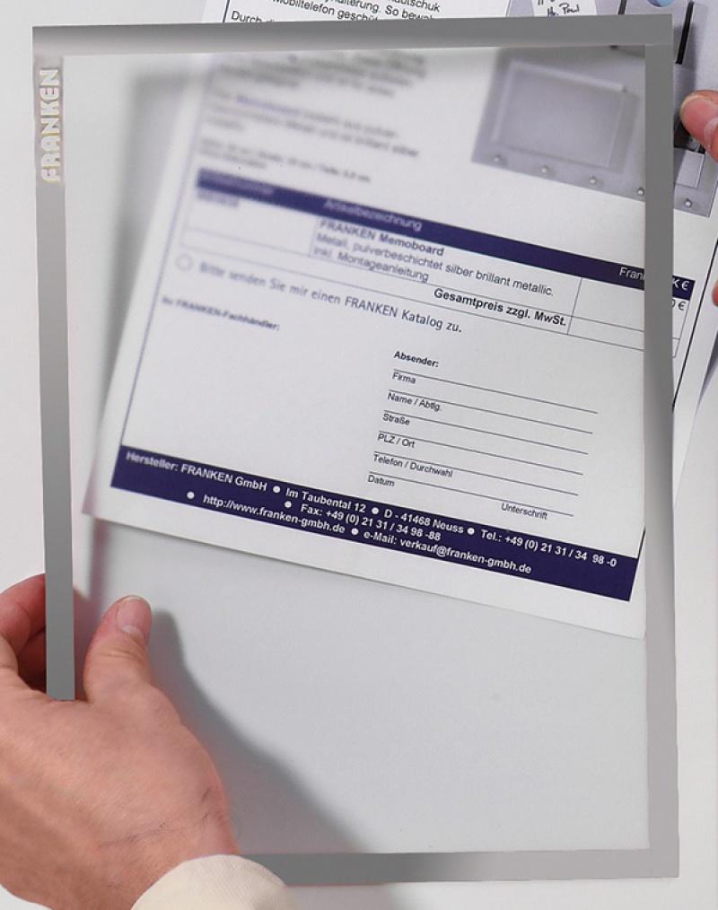 Ramka magnetyczna FRANKEN, A4, szara, Systemy prezentacyjne, Prezentacja