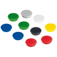 Display Magnets FRANKEN, round, diameter 32mm, 10pcs, assorted colours