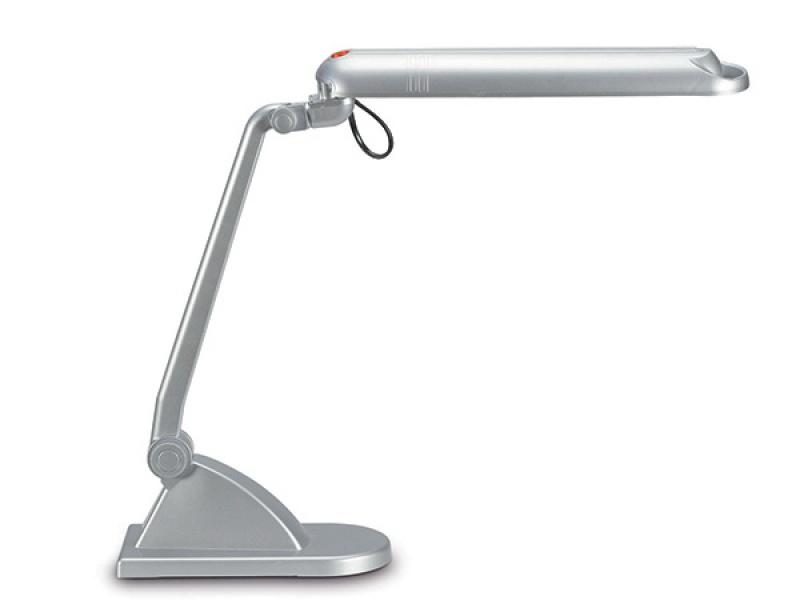 Lampka energooszczędna na biurko MAULadria, 11W, srebrna, Lampki, Urządzenia i maszyny biurowe