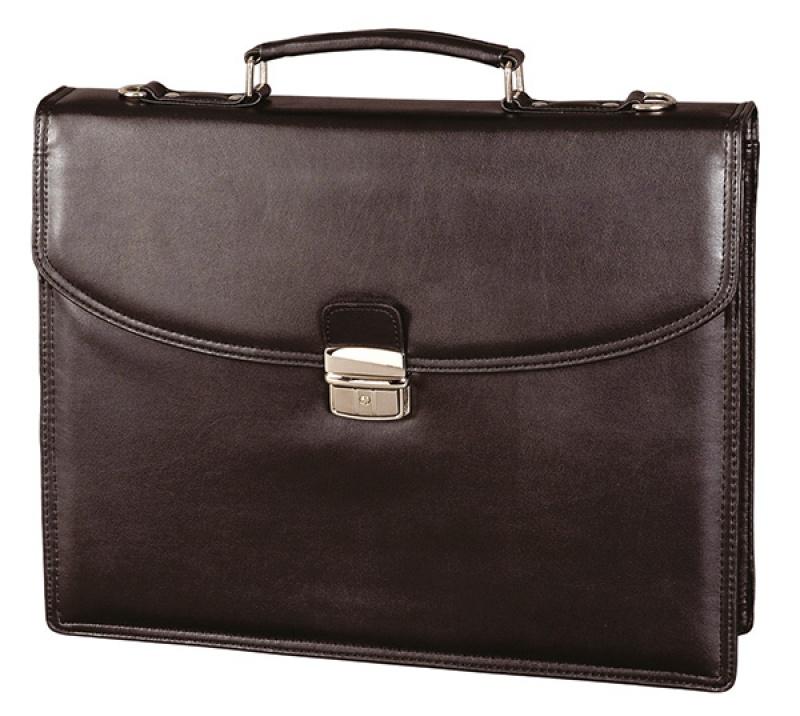 Teczka ALASSIO Cantana, skóra ekologiczna, 380x310x95mm, czarna, Torby, teczki i plecaki, Akcesoria komputerowe