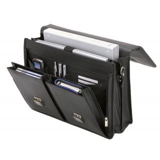 Teczka ALASSIO Veneto, skóra ekologiczna, 417x315x150mm, czarna, Torby, teczki i plecaki, Akcesoria komputerowe