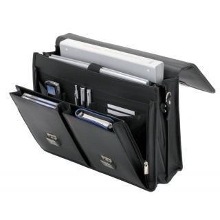 Teczka ALASSIO Veneto, skórzana, 417x315x150mm, czarna, Torby, teczki i plecaki, Akcesoria komputerowe