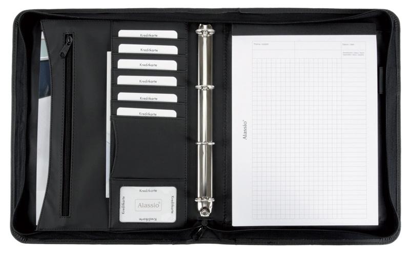 Teczka ALASSIO, skóra ekologiczna, 345x275x40mm, czarna, Torby, teczki i plecaki, Akcesoria komputerowe