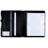 Teczka Como skóra ekologiczna 322x260x20mm czarna, Teczki przestrzenne, Archiwizacja dokumentów