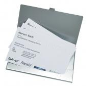 Wizytownik ALASSIO, aluminiowy, na 10 wizytówek, srebrny, Wizytowniki, Drobne akcesoria biurowe