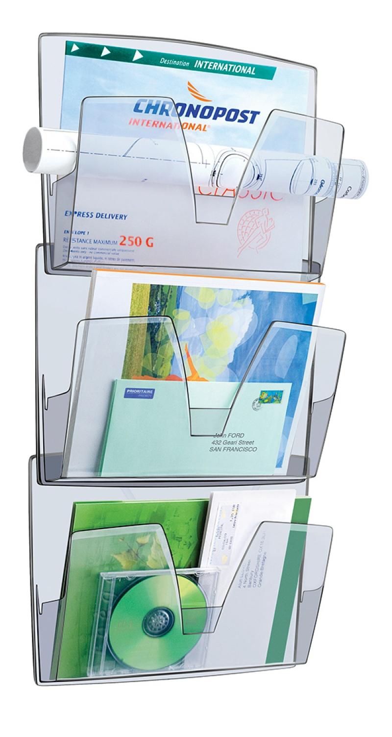 Zestaw naścienny CEP ReCaption, 3 półki, dymny, Półki, Drobne akcesoria biurowe