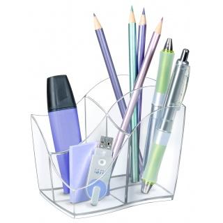 Przybornik na biurko CEP Isis, przeźroczysty, Przyborniki na biurko, Drobne akcesoria biurowe