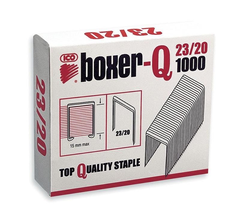 Zszywki ICO Boxer, 23/20, galwanizowane, 1000szt., Zszywki, Drobne akcesoria biurowe