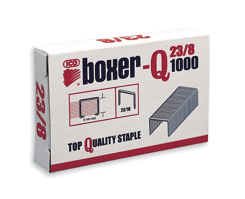 Zszywki ICO Boxer, 23/8, galwanizowane, 1000szt., Zszywki, Drobne akcesoria biurowe