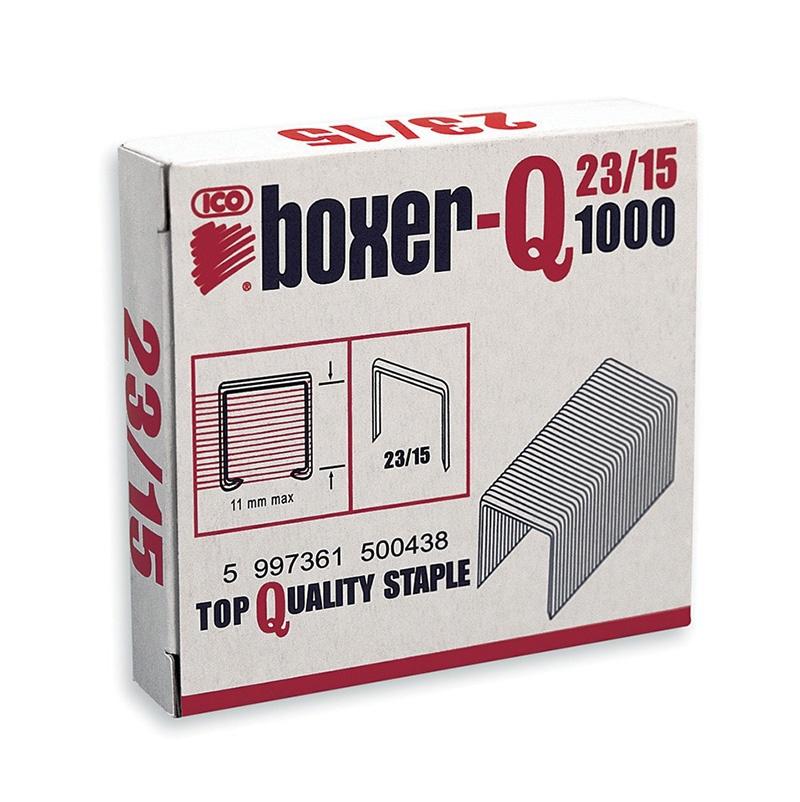 Zszywki ICO Boxer, 23/15, galwanizowane, 1000szt., Zszywki, Drobne akcesoria biurowe