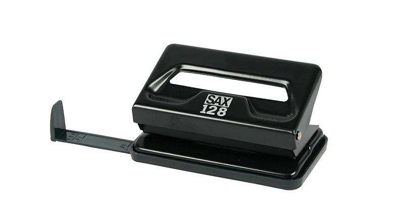 Dziurkacz SAX128S, dziurkuje do 12 kartek, czarny, Dziurkacze, Drobne akcesoria biurowe