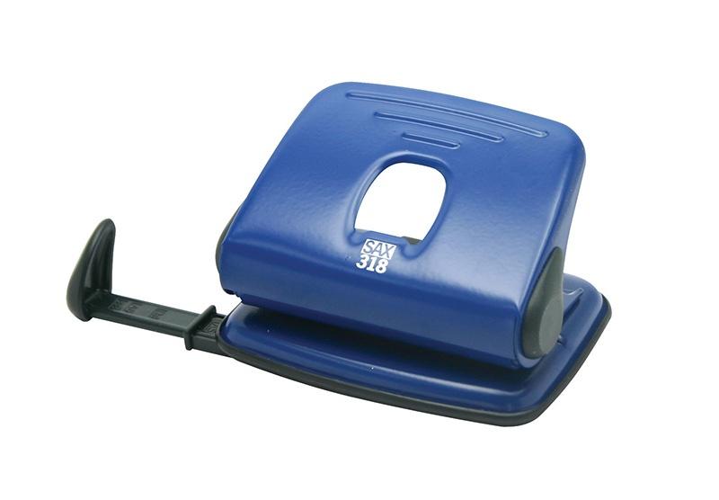 Dziurkacz SAX318, dziurkuje do 15 kartek, niebieski, Dziurkacze, Drobne akcesoria biurowe