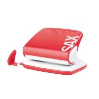Dziurkacz SAXDesign 318, dziurkuje do 20 kartek, czerwony, Dziurkacze, Drobne akcesoria biurowe