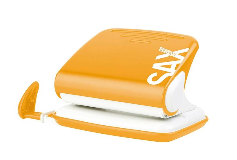Dziurkacz SAXDesign 318, dziurkuje do 20 kartek, pomarańczowy, display, Dziurkacze, Drobne akcesoria biurowe