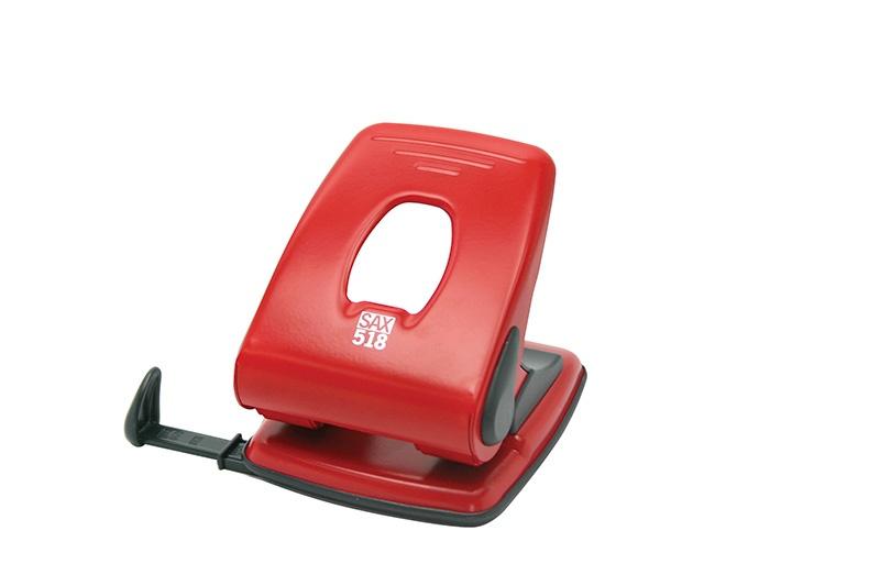 Dziurkacz SAX518, dziurkuje do 40 kartek, czerwony, Dziurkacze, Drobne akcesoria biurowe