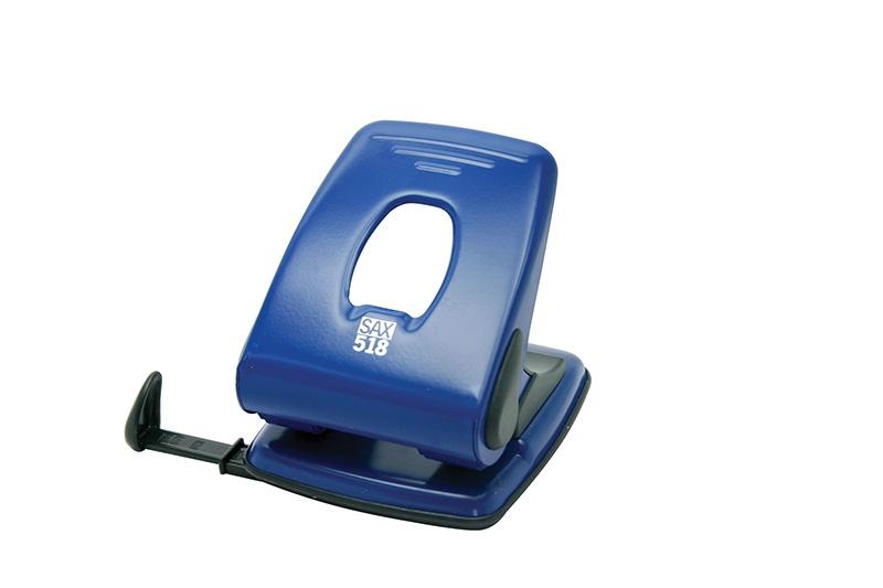 Dziurkacz SAX518, dziurkuje do 40 kartek, niebieski, Dziurkacze, Drobne akcesoria biurowe