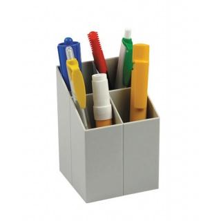 Przybornik na biurko ICO, z przegrodami, szary, Przyborniki na biurko, Drobne akcesoria biurowe