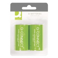 Super Alkaline Batteries Q-CONNECT D, LR20, 1, 5V, 2pcs