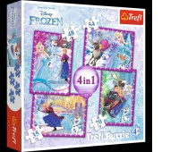 34294 4w1 - Zimowe szaleństwo / Disney Frozen, Puzzle, Zabawki