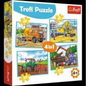 34298 4w1 - Duże maszyny budowlane / Trefl, Puzzle, Zabawki