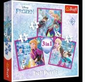 34832 3w1 - Zimowa magia / Disney Frozen, Puzzle, Zabawki