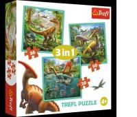 34837 3w1 - Niezwykły świat dinozaurów / Trefl, Puzzle, Zabawki