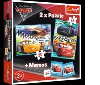 90706 Puzzle 2w1 + memos - Cars 3 / Disney Cars 3, Puzzle, Zabawki