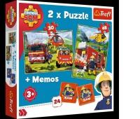 90791 2w1 + memos - Strażacy w akcji / Prism A&D Fireman Sam, Puzzle, Zabawki