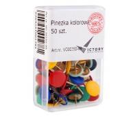 PINEZKA KOLOROWA OP3 50 SZT. VICTORY OFFICE, Pinezki, Drobne akcesoria biurowe