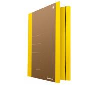 Teczka z gumką DONAU Life, Karton, A4, 500gsm, 3-skrz., żółty, Teczki płaskie, Archiwizacja dokumentów