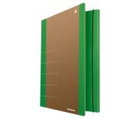 Teczka z gumką DONAU Life, Karton, A4, 500gsm, 3-skrz., zielony, Teczki płaskie, Archiwizacja dokumentów