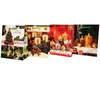 Torebka Lux z brok ŚREDNIA świeczki Xmas, Torby ozdobne, Papier i etykiety