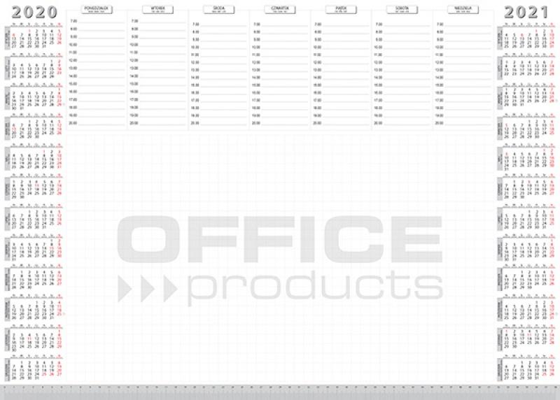 Podkładka na biurko OFFICE PRODUCTS, planer 2020/2021, biuwar, A2, 52 ark., Podkładki na biurko, Wyposażenie biura