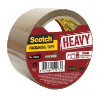 Scotch® Packaging Tape Heavy, Brown, 1 Roll, 50 mm x 50 m