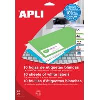 Etykiety uniwersalne APLI, 105x74mm, prostokątne, białe 10 ark., Etykiety samoprzylepne, Papier i etykiety