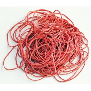 Gumki recepturki Q-CONNECT, 100g, średnica 50mm, czerwone, Gumki recepturki, Drobne akcesoria biurowe