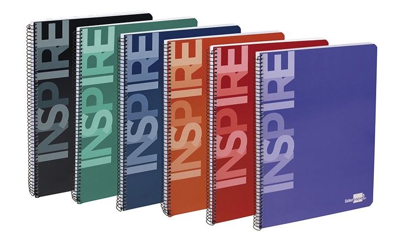 Kołonotatnik LIDERPAPEL Inspire, A5, w kratkę, 160 kart., 60gsm, perforacja, Kołonotatniki, Zeszyty i bloki