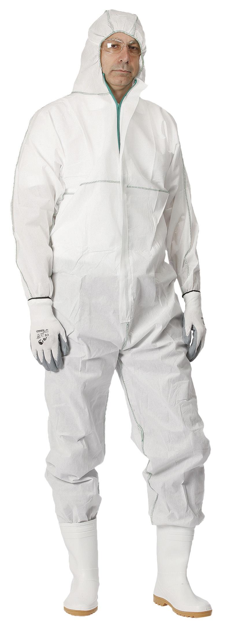 Kombinezon Chemsafe, z kapturem, rozm. XL, biały, Kombinezony, Ochrona indywidualna