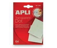 Transparent self-adhesive dots, removable, APLI, 64 pcs, clear